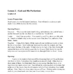 God and His Perfections - Lesson Plan - Grades 6-8