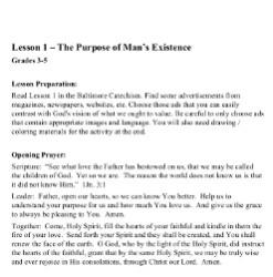 The Purpose of Man's Existence - Lesson Plan - Grades 3-5