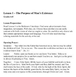 The Purpose of Man's Existence -  Lesson Plan - Grades 6-8