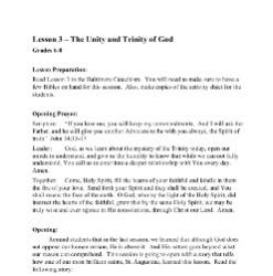 The Unity and Trinity of God - Lesson Plan - Grades 6-8